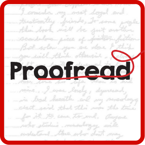 Crossed out word: Proofread
